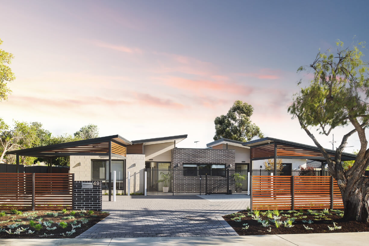 Streetfront view of a Shift Accessible Home development